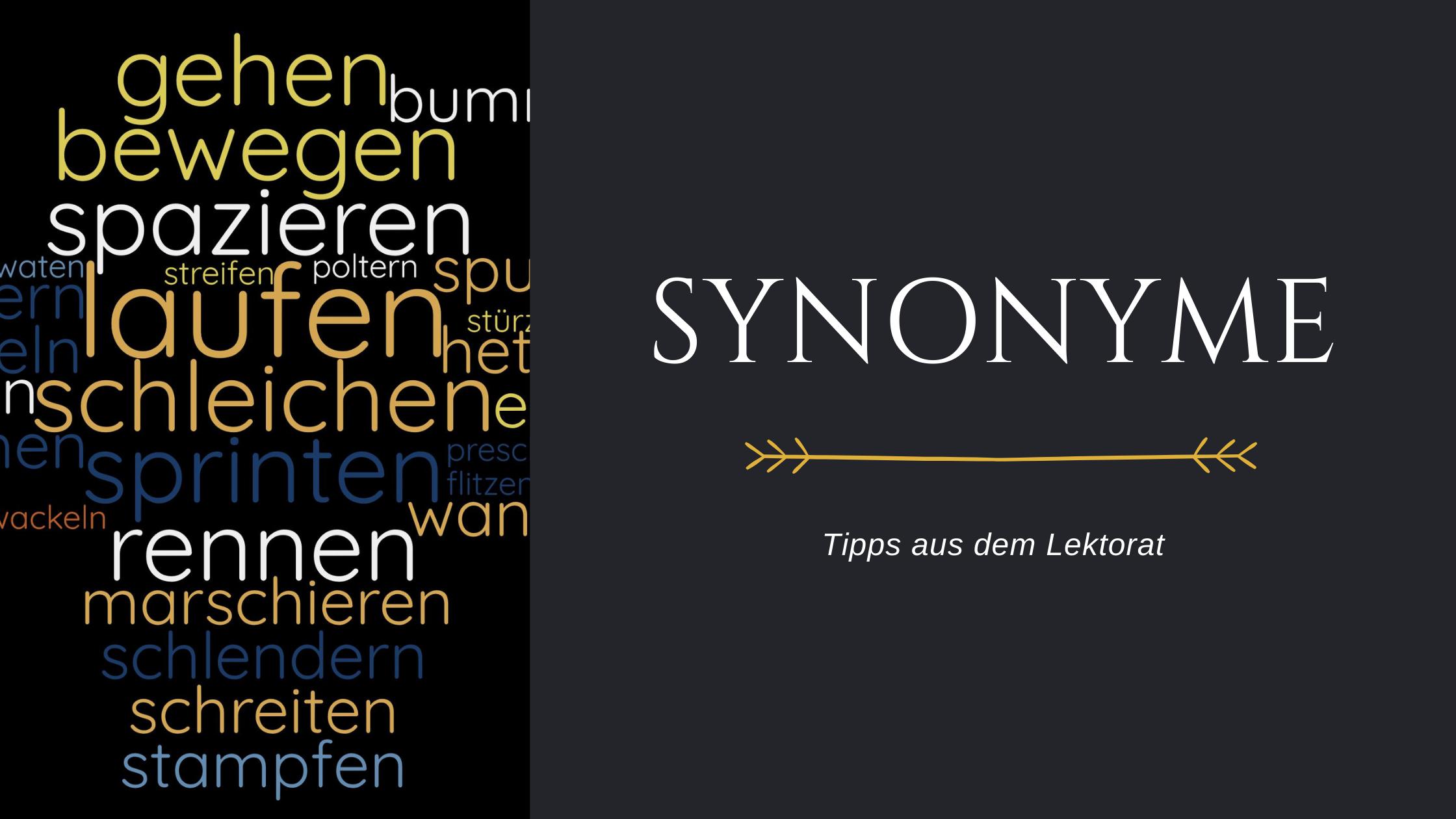 """Titelbild Blogbeitrag """"Tipps aus dem Lektorat: Synonyme"""" mit Wortwolke"""