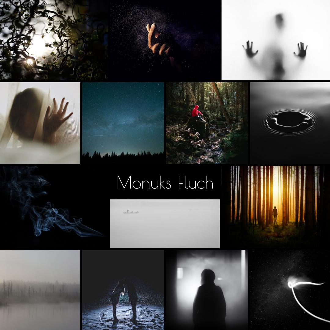 Moodboard zu Monuks Fluch, verschiedene düstere, fantastische Bilder