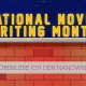 """Beitragsbild Banner des NaNoWriMo mit dem Titel """"Wie überlebe ich den NaNoWriMo?"""""""