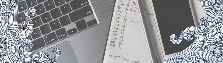Titelbild Texterin mit Laptop, Smartphone und Kalender