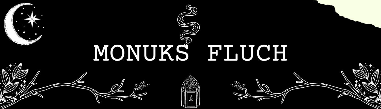 """""""Monuks Fluch"""" mit verschiedenen magischen Symbolen in schwarz-weiß"""